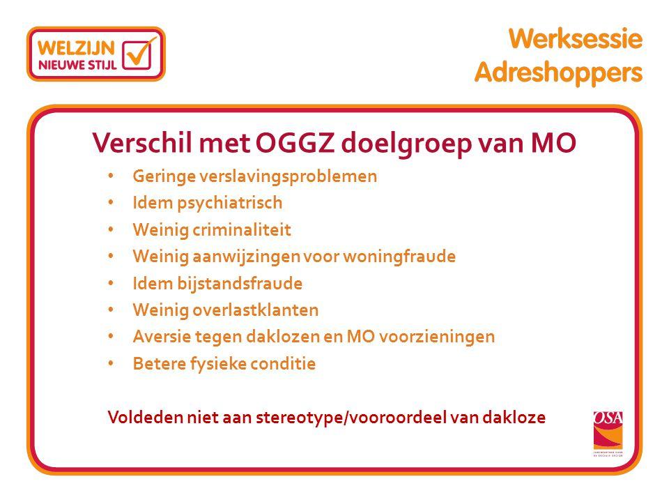 Verschil met OGGZ doelgroep van MO Geringe verslavingsproblemen Idem psychiatrisch Weinig criminaliteit Weinig aanwijzingen voor woningfraude Idem bij
