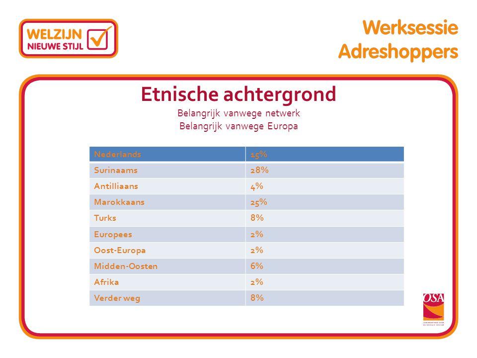 Etnische achtergrond Belangrijk vanwege netwerk Belangrijk vanwege Europa Nederlands15% Surinaams28% Antilliaans4% Marokkaans25% Turks8% Europees2% Oo