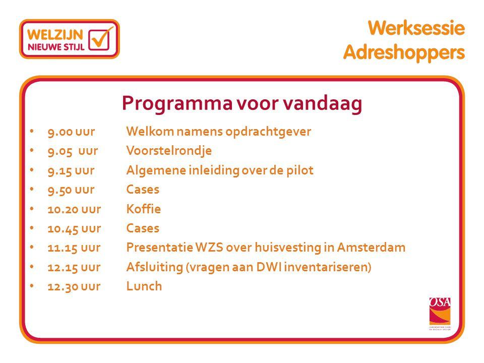 Programma voor vandaag 9.00 uur Welkom namens opdrachtgever 9.05 uur Voorstelrondje 9.15 uur Algemene inleiding over de pilot 9.50 uur Cases 10.20 uur