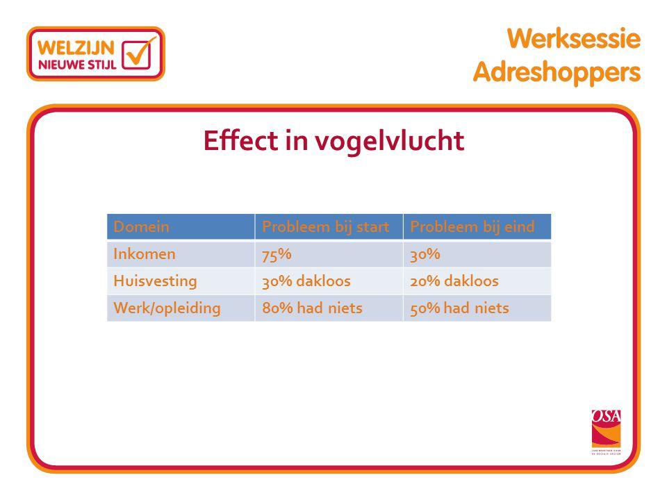 Effect in vogelvlucht DomeinProbleem bij startProbleem bij eind Inkomen75%30% Huisvesting30% dakloos20% dakloos Werk/opleiding80% had niets50% had nie