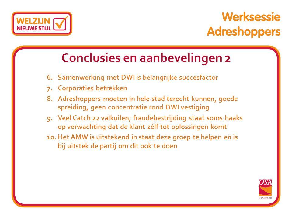 Conclusies en aanbevelingen 2 6.Samenwerking met DWI is belangrijke succesfactor 7.Corporaties betrekken 8.Adreshoppers moeten in hele stad terecht ku