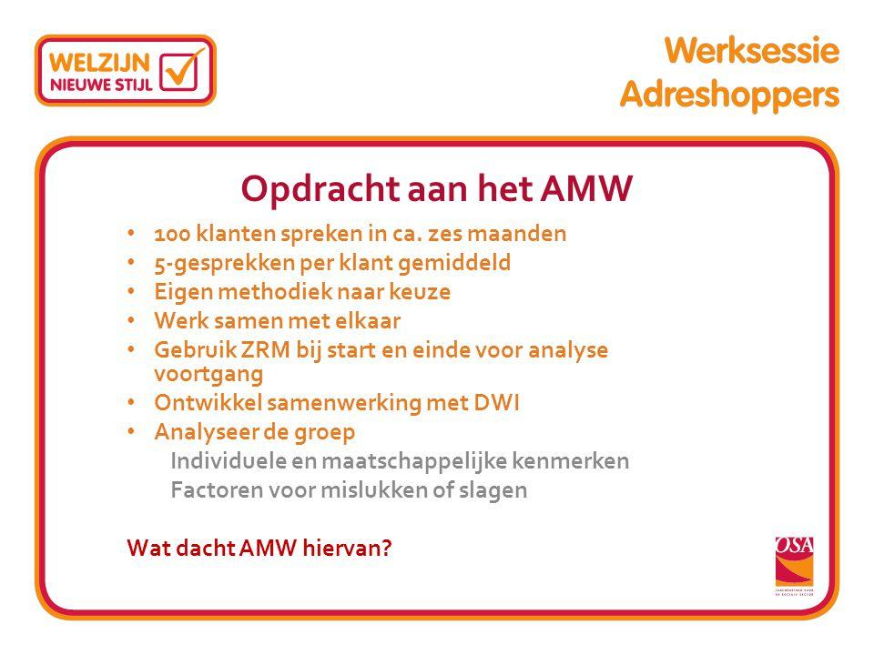 Opdracht aan het AMW 100 klanten spreken in ca. zes maanden 5-gesprekken per klant gemiddeld Eigen methodiek naar keuze Werk samen met elkaar Gebruik