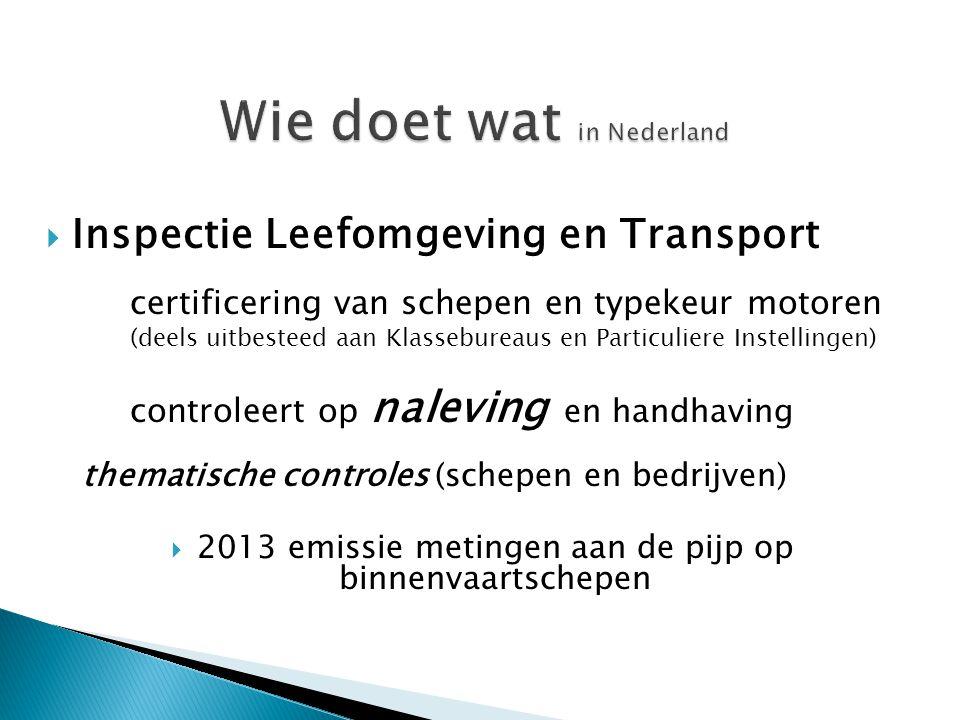 door ILT Scheepvaart (en samenwerking met havenbedrijf/waternet) Via Certificering schepen:  Individuele schepen meten aan de pijp  Meten langs de vaarweg (mobiel snuffelen TNO)  Indicatieve metingen versus referentie metingen Via typekeur motoren:  bij producent/leverancier