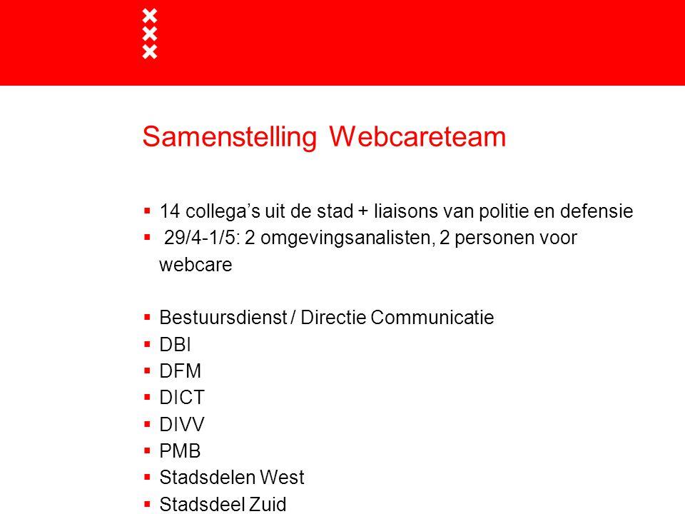 Samenstelling Webcareteam  14 collega's uit de stad + liaisons van politie en defensie  29/4-1/5: 2 omgevingsanalisten, 2 personen voor webcare  Be