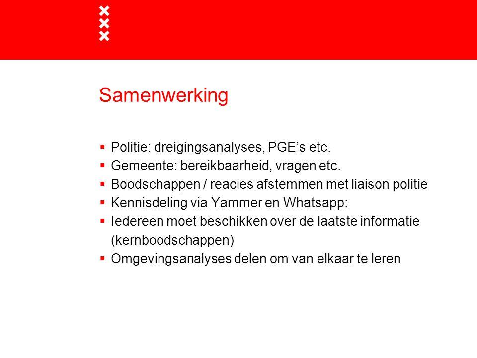 Samenwerking  Politie: dreigingsanalyses, PGE's etc.  Gemeente: bereikbaarheid, vragen etc.  Boodschappen / reacies afstemmen met liaison politie 