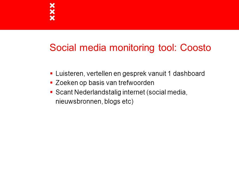 Social media monitoring tool: Coosto  Luisteren, vertellen en gesprek vanuit 1 dashboard  Zoeken op basis van trefwoorden  Scant Nederlandstalig in