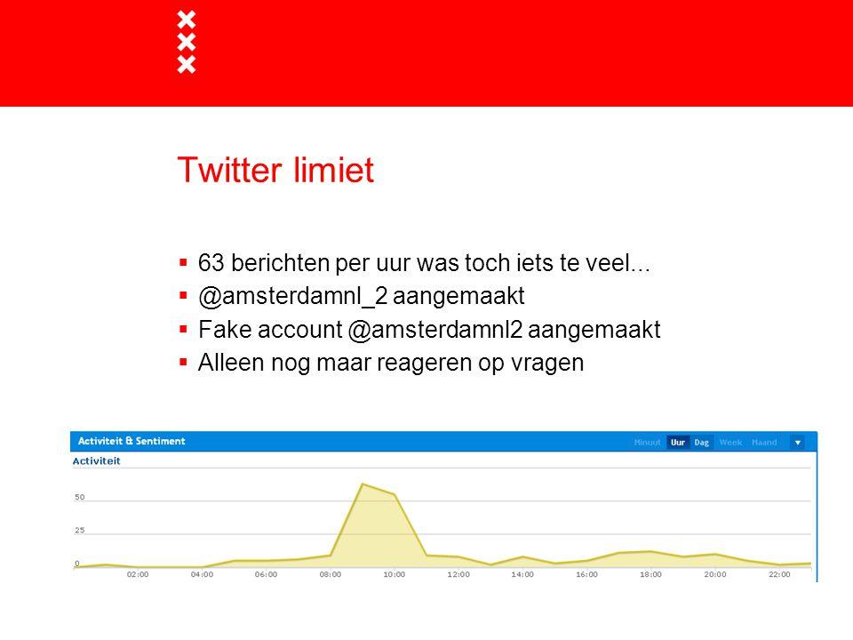 Twitter limiet  63 berichten per uur was toch iets te veel...  @amsterdamnl_2 aangemaakt  Fake account @amsterdamnl2 aangemaakt  Alleen nog maar r