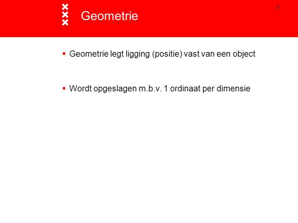 3  2D Punt Lijn Vlak Multi-punt Multi-lijn Multi-vlak Compound  Speciale geometrietypen Arc Donut Geometrietypen