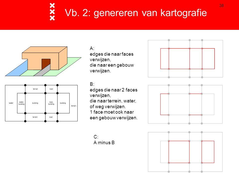 38 Vb. 2: genereren van kartografie A: edges die naar faces verwijzen, die naar een gebouw verwijzen. B: edges die naar 2 faces verwijzen, die naar te