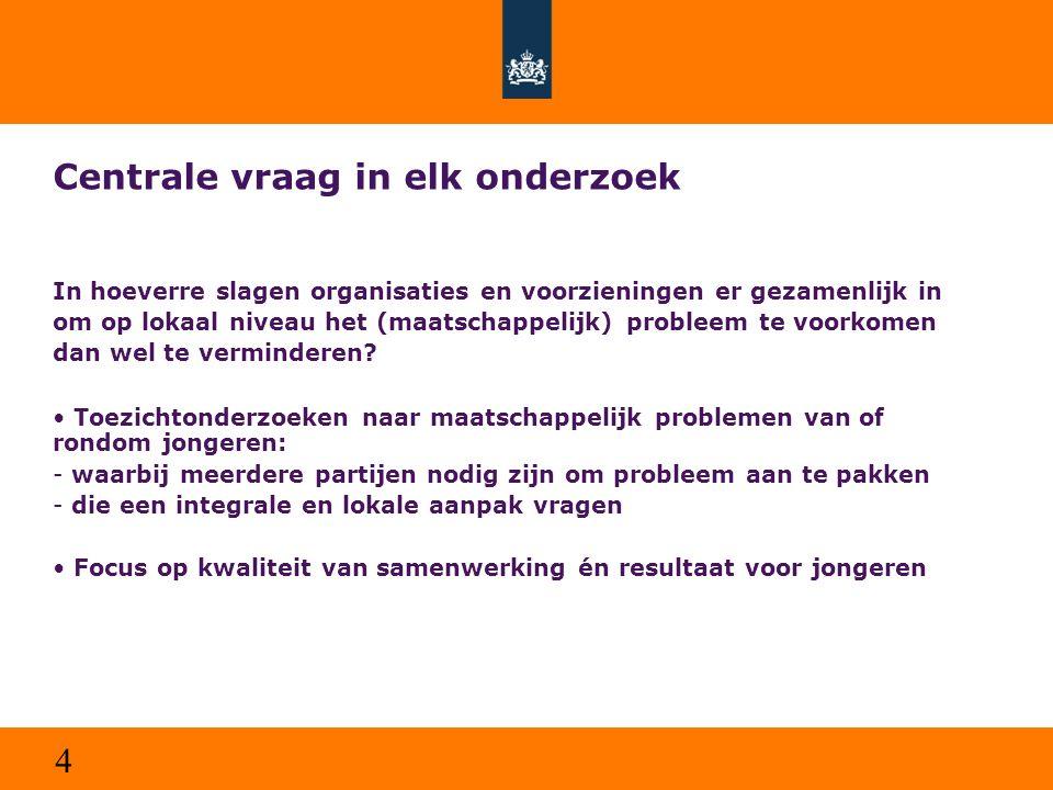 4 Centrale vraag in elk onderzoek In hoeverre slagen organisaties en voorzieningen er gezamenlijk in om op lokaal niveau het (maatschappelijk) problee