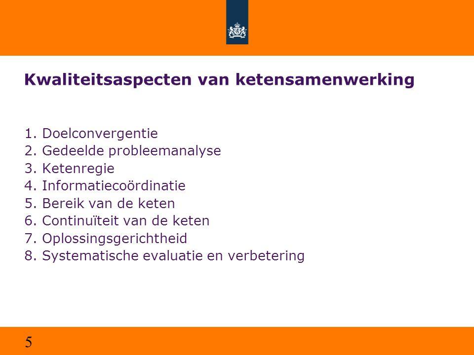 5 Kwaliteitsaspecten van ketensamenwerking 1.Doelconvergentie 2.Gedeelde probleemanalyse 3.Ketenregie 4.Informatiecoördinatie 5.Bereik van de keten 6.