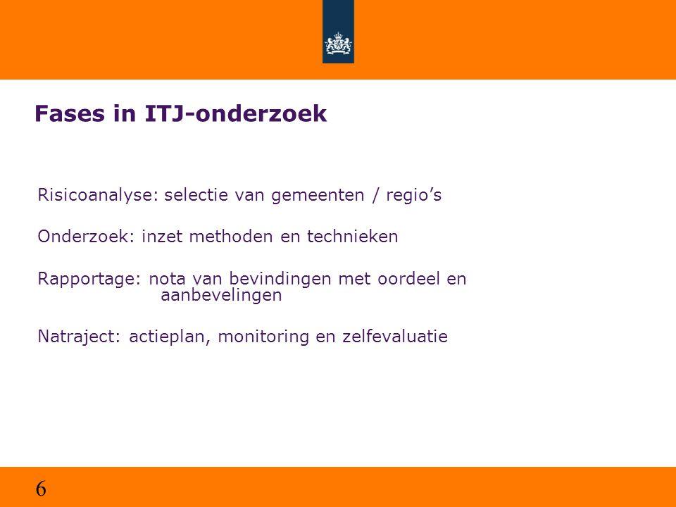 6 Fases in ITJ-onderzoek Risicoanalyse: selectie van gemeenten / regio's Onderzoek: inzet methoden en technieken Rapportage: nota van bevindingen met