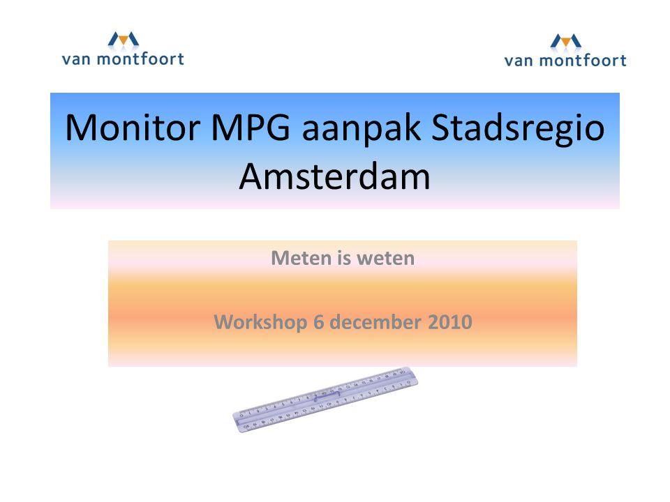 Monitor MPG aanpak Stadsregio Amsterdam Meten is weten Workshop 6 december 2010