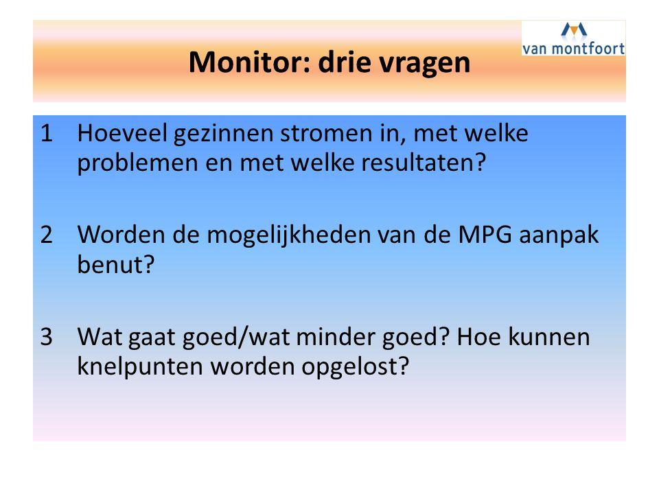 Monitor: drie vragen 1Hoeveel gezinnen stromen in, met welke problemen en met welke resultaten.
