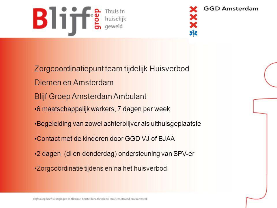 Zorgcoordinatiepunt team tijdelijk Huisverbod Diemen en Amsterdam Blijf Groep Amsterdam Ambulant 6 maatschappelijk werkers, 7 dagen per week Begeleidi