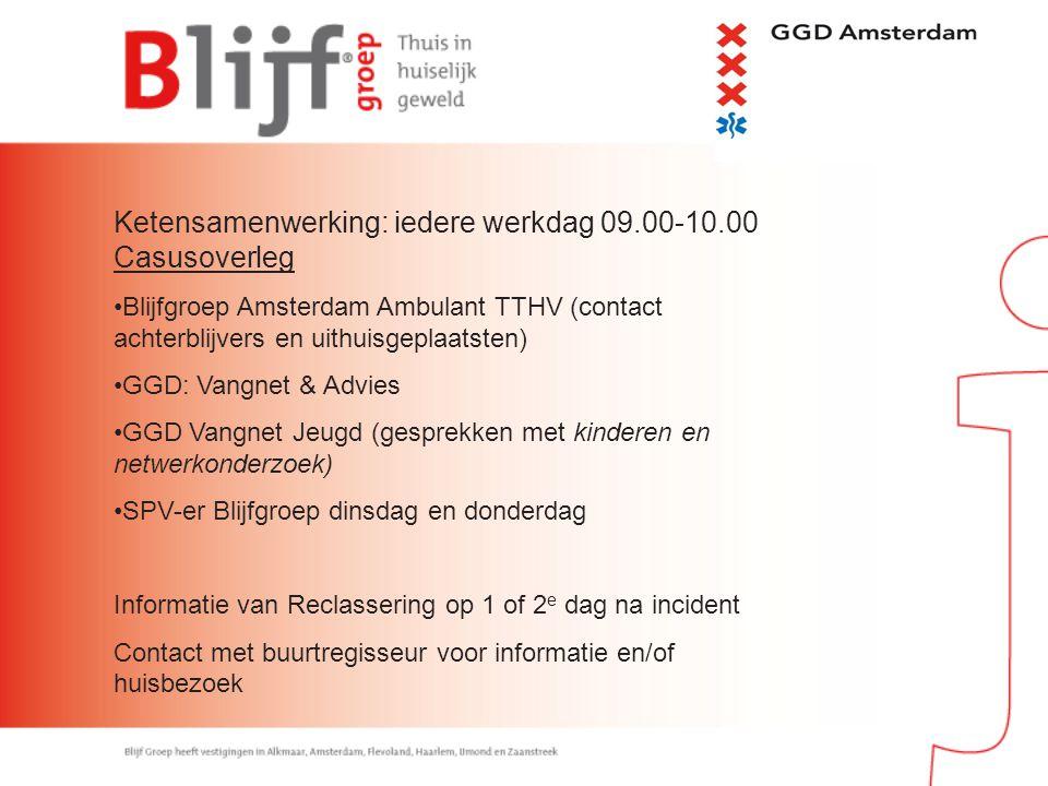 Ketensamenwerking: iedere werkdag 09.00-10.00 Casusoverleg Blijfgroep Amsterdam Ambulant TTHV (contact achterblijvers en uithuisgeplaatsten) GGD: Vang