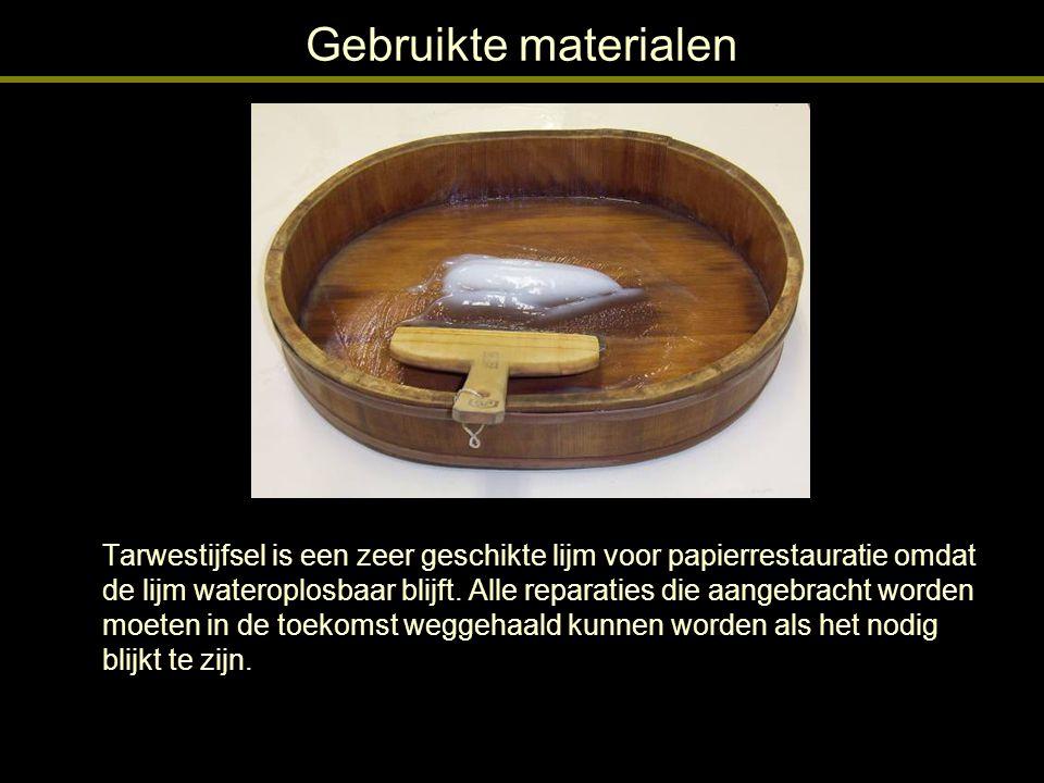 Behandeling: het maken van de strook Het beschadigde blad is een prent.