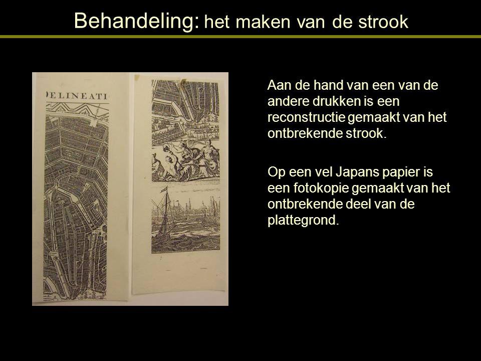Behandeling: het maken van de strook De fotokopie op Japans papier is geplaats onder de te restaureren prent.