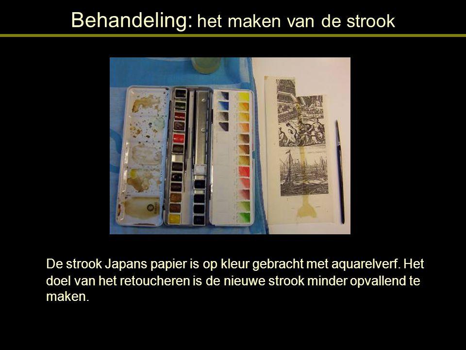 Behandeling: het maken van de strook Na de retouche met aquarelverf is de zwarte inkt van de fotokopie met een priem deels verwijderd.