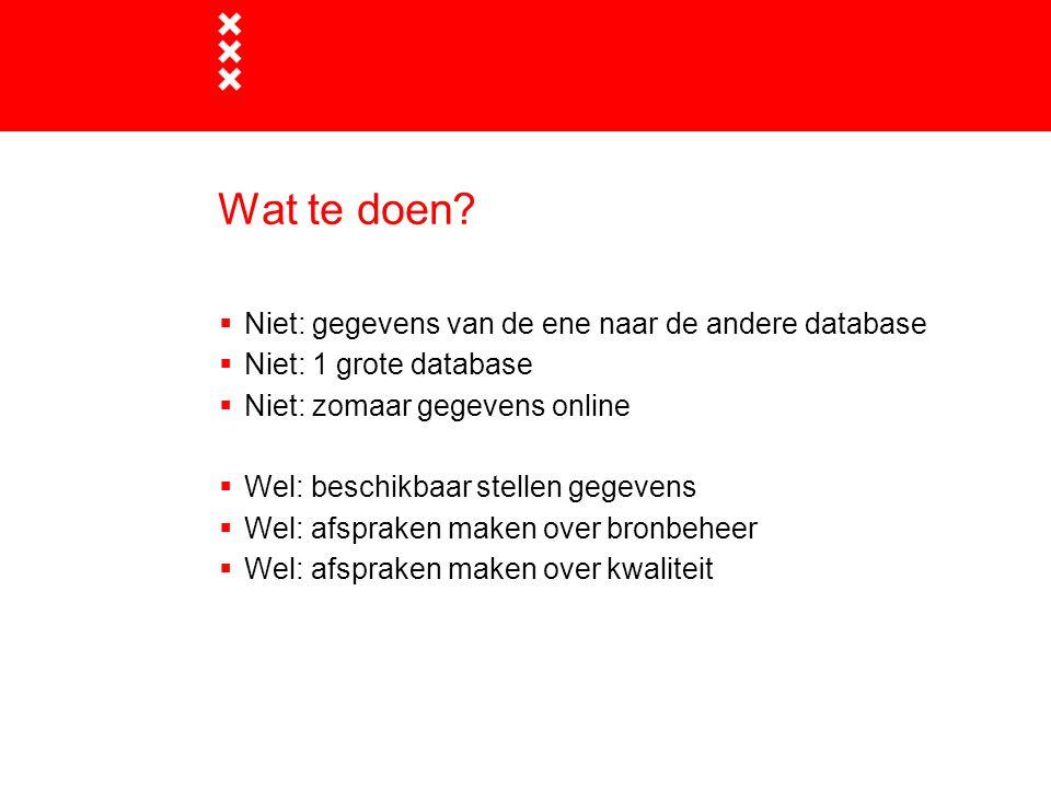Wat te doen?  Niet: gegevens van de ene naar de andere database  Niet: 1 grote database  Niet: zomaar gegevens online  Wel: beschikbaar stellen ge