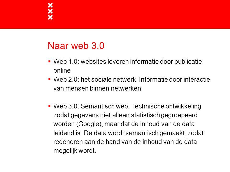Naar web 3.0  Web 1.0: websites leveren informatie door publicatie online  Web 2.0: het sociale netwerk. Informatie door interactie van mensen binne