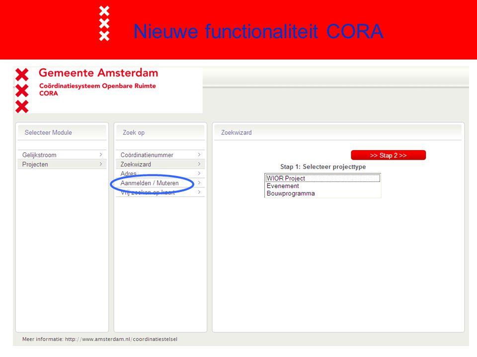 Nieuwe functionaliteit CORA
