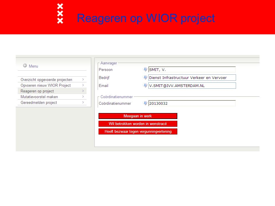 Reageren op WIOR project