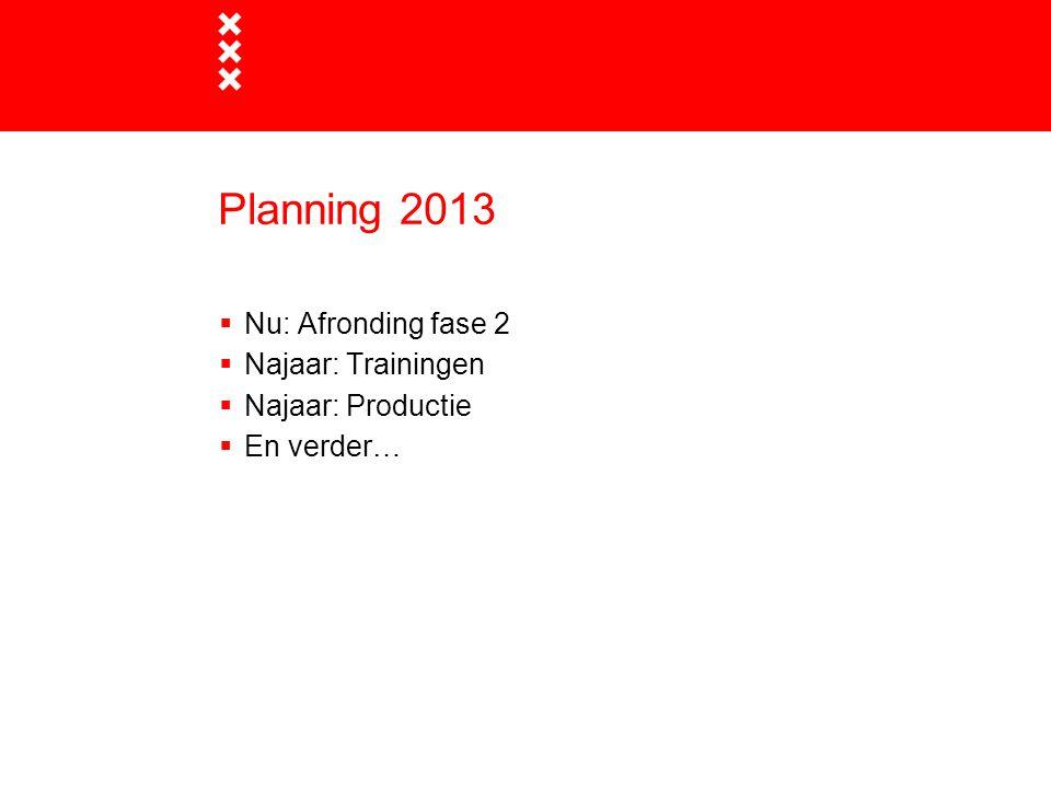 Planning 2013  Nu: Afronding fase 2  Najaar: Trainingen  Najaar: Productie  En verder…