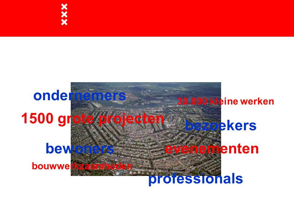 1500 grote projecten bouwwerkzaamheden evenementen 30.000 kleine werken bewoners ondernemers bezoekers professionals