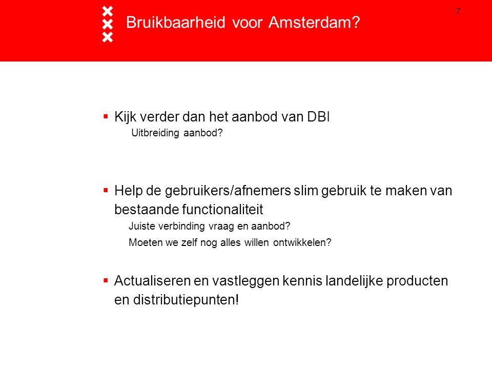 7 Bruikbaarheid voor Amsterdam?  Kijk verder dan het aanbod van DBI Uitbreiding aanbod?  Help de gebruikers/afnemers slim gebruik te maken van besta