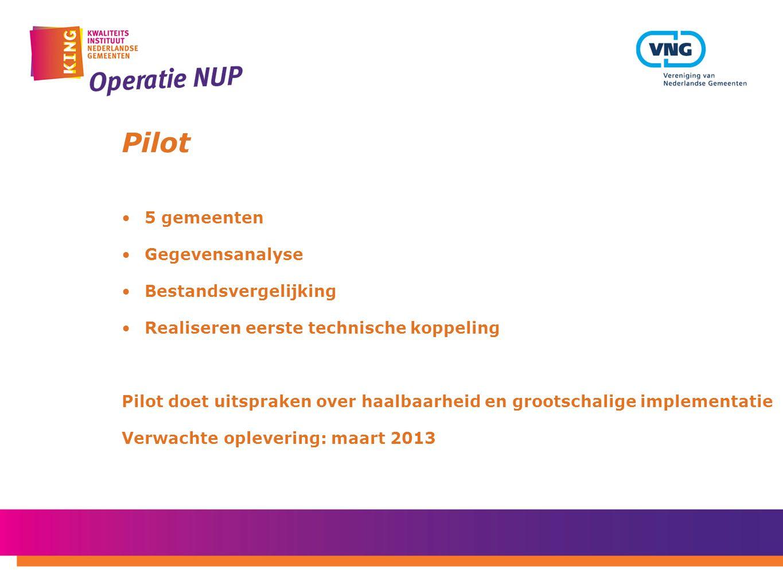 Pilot 5 gemeenten Gegevensanalyse Bestandsvergelijking Realiseren eerste technische koppeling Pilot doet uitspraken over haalbaarheid en grootschalige implementatie Verwachte oplevering: maart 2013