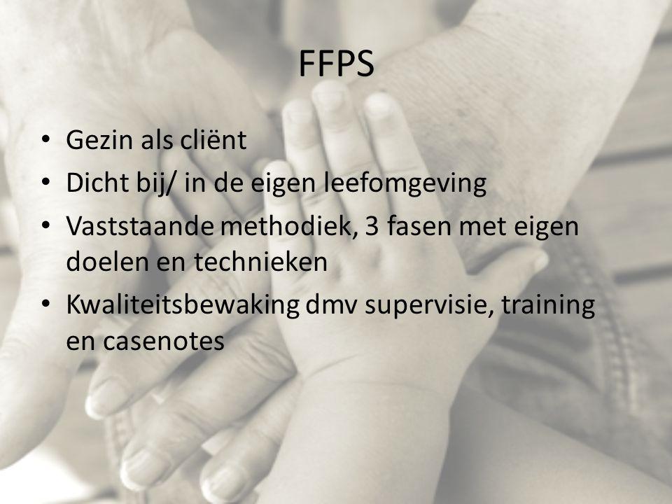 FFPS Gezin als cliënt Dicht bij/ in de eigen leefomgeving Vaststaande methodiek, 3 fasen met eigen doelen en technieken Kwaliteitsbewaking dmv supervisie, training en casenotes