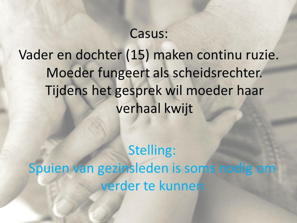 Stelling: Spuien van gezinsleden is soms nodig om verder te kunnen Casus: Vader en dochter (15) maken continu ruzie. Moeder fungeert als scheidsrechte