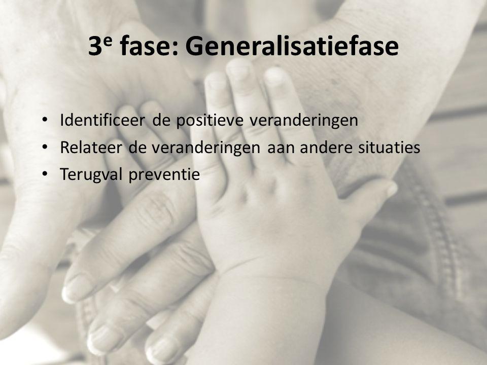 3 e fase: Generalisatiefase Identificeer de positieve veranderingen Relateer de veranderingen aan andere situaties Terugval preventie