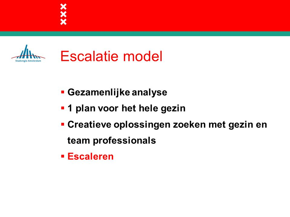 Escalatie model  Gezamenlijke analyse  1 plan voor het hele gezin  Creatieve oplossingen zoeken met gezin en team professionals  Escaleren