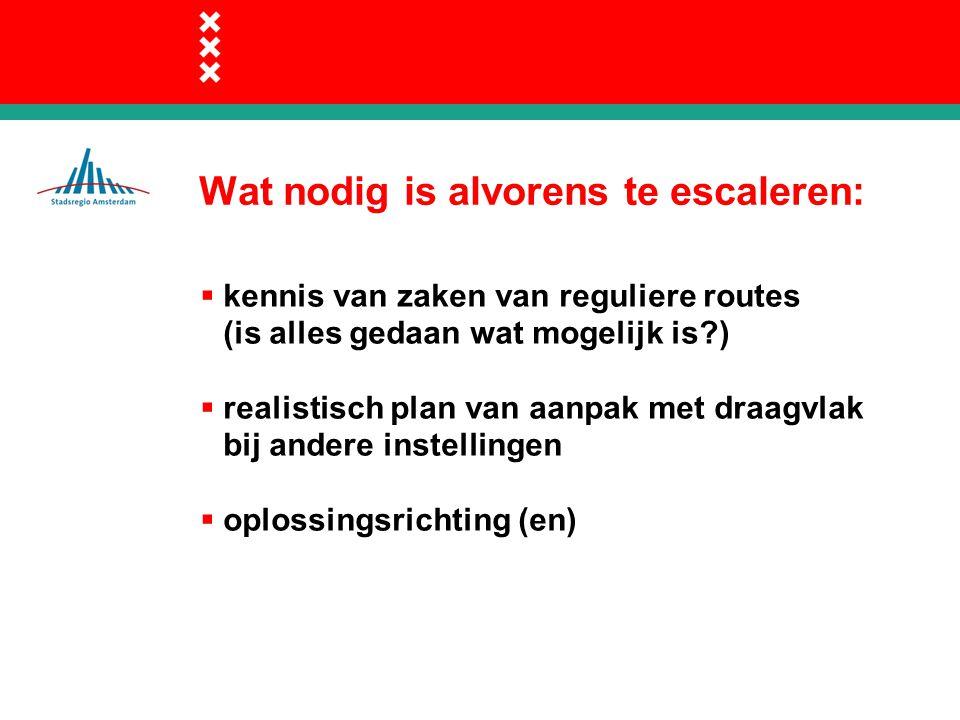 Wat nodig is alvorens te escaleren:  kennis van zaken van reguliere routes (is alles gedaan wat mogelijk is?)  realistisch plan van aanpak met draagvlak bij andere instellingen  oplossingsrichting (en)