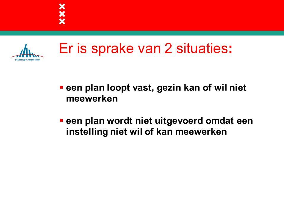 Er is sprake van 2 situaties:  een plan loopt vast, gezin kan of wil niet meewerken  een plan wordt niet uitgevoerd omdat een instelling niet wil of kan meewerken