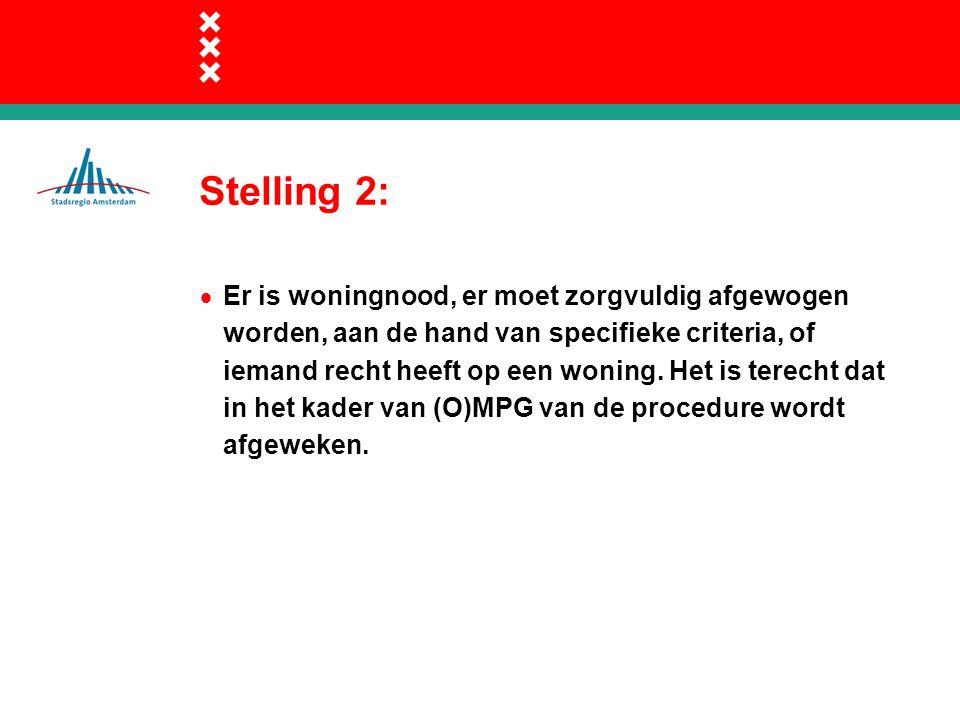 Stelling 2:  Er is woningnood, er moet zorgvuldig afgewogen worden, aan de hand van specifieke criteria, of iemand recht heeft op een woning.