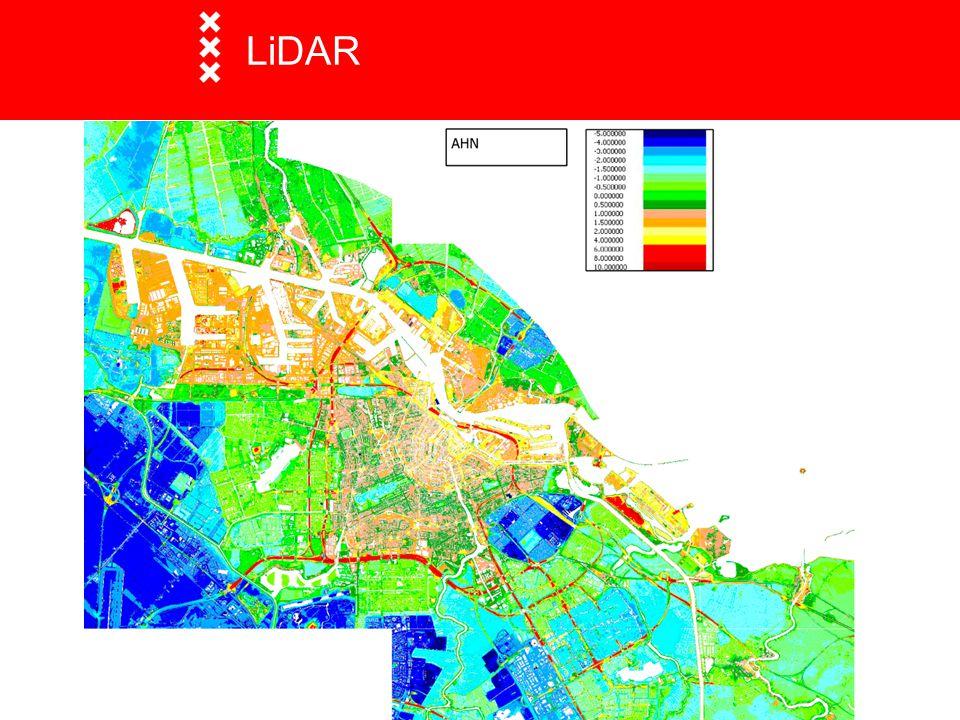 LiDAR Light Detection and R anging Vanuit de lucht in winnen van hoogte modellen. Voorbeeld: Actueel Hoogtebestand van Nederland