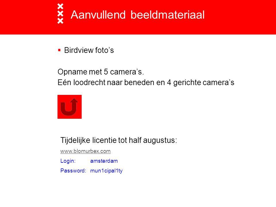 Aanvullend beeldmateriaal  Birdview foto's Opname met 5 camera's. Eén loodrecht naar beneden en 4 gerichte camera's Tijdelijke licentie tot half augu
