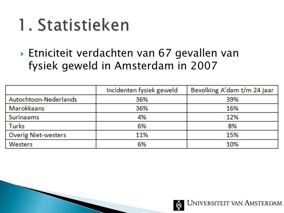  Etniciteit verdachten van 67 gevallen van fysiek geweld in Amsterdam in 2007