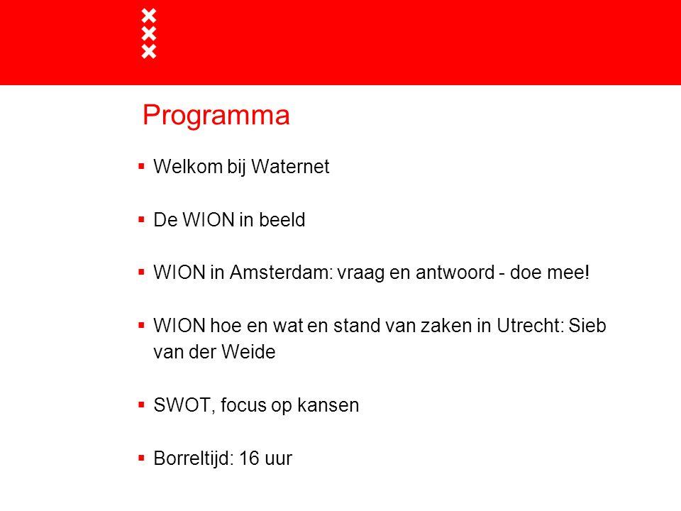 Programma  Welkom bij Waternet  De WION in beeld  WION in Amsterdam: vraag en antwoord - doe mee.