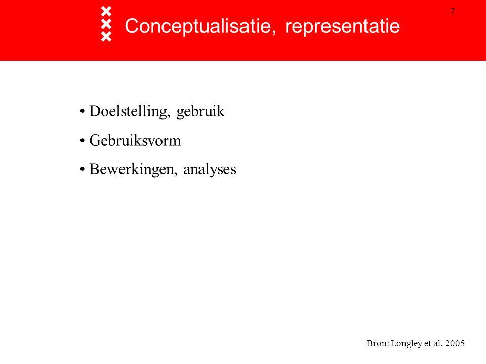7 Conceptualisatie, representatie Bron: Longley et al. 2005 Doelstelling, gebruik Gebruiksvorm Bewerkingen, analyses