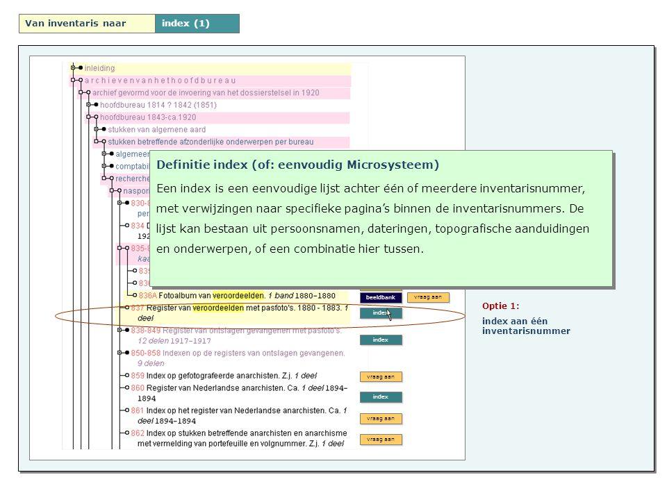 Indexen Velden - Beperkt aantal velden - Type velden: index specifiek - Stelt eisen aan het onderliggende datamodel Velden - Beperkt aantal velden - Type velden: index specifiek - Stelt eisen aan het onderliggende datamodel Context - toegangsnummer -naam archief -inventarisnummer en beschrijving Context - toegangsnummer -naam archief -inventarisnummer en beschrijving Zoekfunctionaliteit - eenvoudige zoekfunctionaliteit Zoekfunctionaliteit - eenvoudige zoekfunctionaliteit Download - direct downloaden, - aanvraag digitalisering - of niet beschikbaar (openbaarheid) Download - direct downloaden, - aanvraag digitalisering - of niet beschikbaar (openbaarheid)