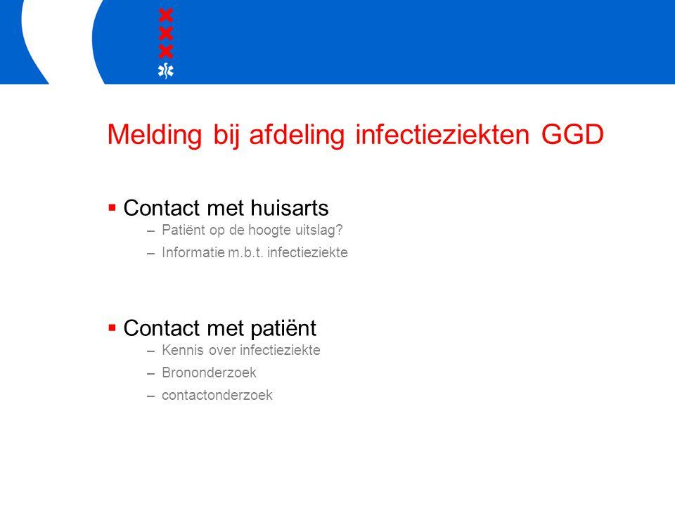 Melding bij afdeling infectieziekten GGD  Contact met huisarts –Patiënt op de hoogte uitslag? –Informatie m.b.t. infectieziekte  Contact met patiënt
