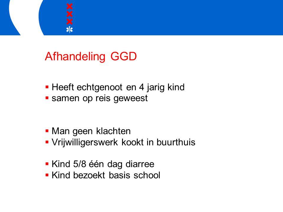 Afhandeling GGD  Heeft echtgenoot en 4 jarig kind  samen op reis geweest  Man geen klachten  Vrijwilligerswerk kookt in buurthuis  Kind 5/8 één d