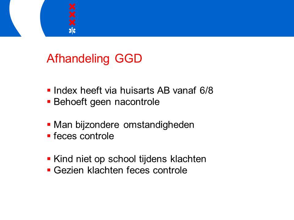 Afhandeling GGD  Index heeft via huisarts AB vanaf 6/8  Behoeft geen nacontrole  Man bijzondere omstandigheden  feces controle  Kind niet op scho