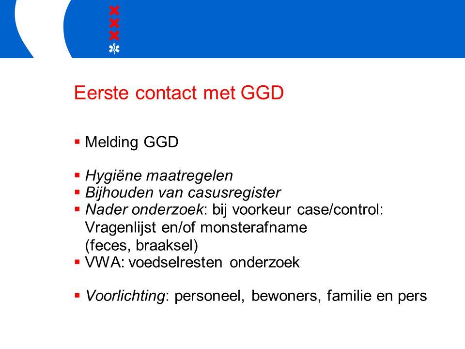Eerste contact met GGD  Melding GGD  Hygiëne maatregelen  Bijhouden van casusregister  Nader onderzoek: bij voorkeur case/control: Vragenlijst en/