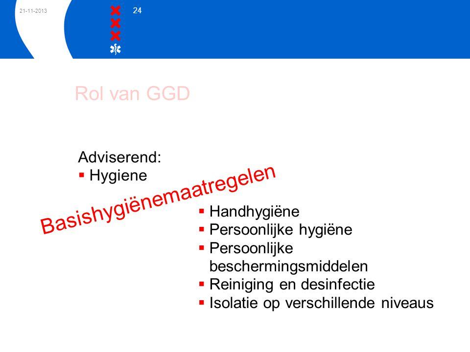 21-11-2013 24 Basishygiënemaatregelen  Handhygiëne  Persoonlijke hygiëne  Persoonlijke beschermingsmiddelen  Reiniging en desinfectie  Isolatie o