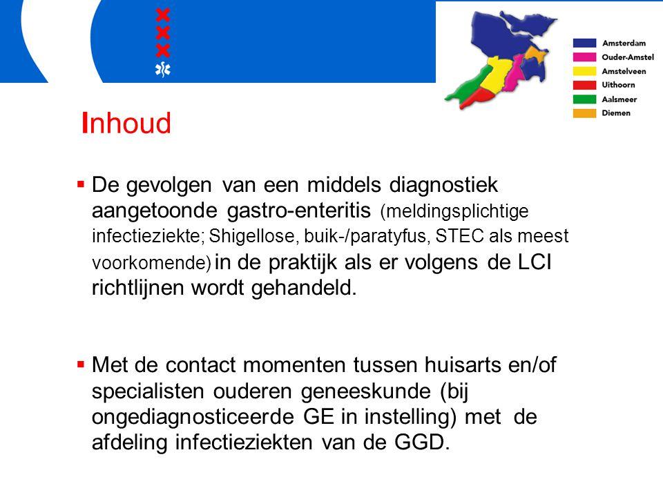 Inhoud  De gevolgen van een middels diagnostiek aangetoonde gastro-enteritis (meldingsplichtige infectieziekte; Shigellose, buik-/paratyfus, STEC als